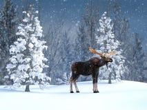 het 3D teruggeven van een majestueuze Amerikaanse eland in een de winterlandschap royalty-vrije stock foto
