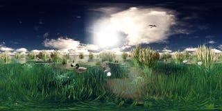 het 3d teruggeven van een meer met vliegende en zwemmende eenden stock illustratie