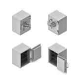 het 3d teruggeven van een metaal veilige doos in open en gesloten staat in tweezijdige isometrische mening Stock Foto