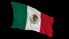 het 3d teruggeven van een Mexicaanse vlag De vlag ontwikkelt zich regelmatig in de wind stock illustratie