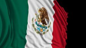 het 3d teruggeven van een Mexicaanse vlag De vlag ontwikkelt zich regelmatig in de wind vector illustratie