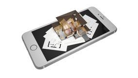 het 3D teruggeven van een modern huis met smartphone en blauwdruk Royalty-vrije Stock Afbeeldingen