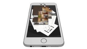 het 3D teruggeven van een modern huis met smartphone en blauwdruk Stock Foto