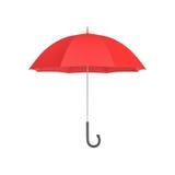 het 3d teruggeven van een open rode paraplu met een zwart gebogen die handvat op witte achtergrond wordt geïsoleerd Stock Afbeeldingen