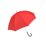 het 3d teruggeven van een open rode paraplu met een zwart gebogen die handvat op witte achtergrond wordt geïsoleerd Royalty-vrije Stock Fotografie