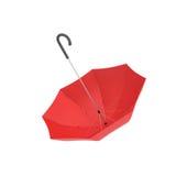 het 3d teruggeven van een open rode paraplu met een zwart gebogen die handvat op witte achtergrond wordt geïsoleerd Stock Fotografie