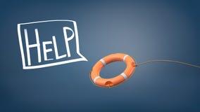 het 3d teruggeven van een oranje die reddingsboei op een kabel dichtbij een witte toespraakbel wordt geworpen met een binnen gesc Stock Afbeeldingen