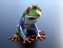 het 3D teruggeven van een realistische rood-eyed boomkikker die kroon dragen Royalty-vrije Stock Afbeelding