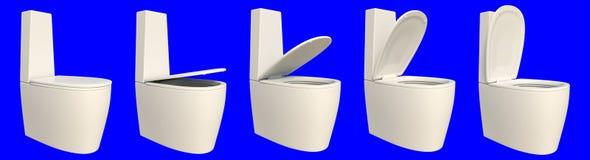 het 3d teruggeven van een reeks van toiletzetel op een blauw wordt geïsoleerd dat Stock Afbeeldingen