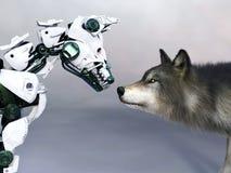 het 3D teruggeven van een robothond die een wolf ontmoeten stock afbeelding