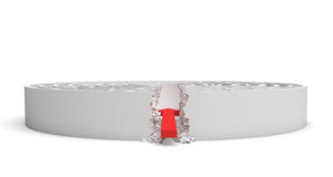 het 3d teruggeven van een rond labyrint met een rode pijl die aan het centrum op witte achtergrond lenen stock illustratie