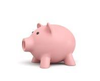 het 3d teruggeven van een roze ceramisch spaarvarken op witte achtergrond royalty-vrije illustratie