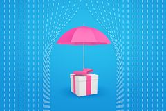het 3d teruggeven van een roze paraplu die een giftdoos beschermt tegen regen royalty-vrije illustratie