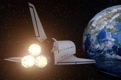 het 3D teruggeven van een ruimteveer op de manier terug naar de aarde royalty-vrije illustratie