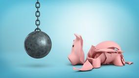 het 3d teruggeven van een rustende slopende bal op een ketting hangt dichtbij een gebarsten spaarvarken op blauwe achtergrond Royalty-vrije Stock Foto's