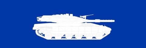 het 3d teruggeven van een tank op een blauwe blauwdruk als achtergrond Stock Foto