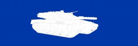 het 3d teruggeven van een tank op een blauwe blauwdruk als achtergrond Royalty-vrije Stock Afbeelding