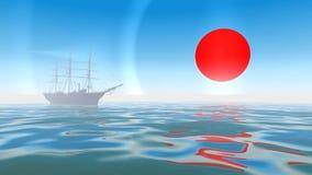 het 3D teruggeven van een varende boot op nevelige ochtend Royalty-vrije Stock Foto's