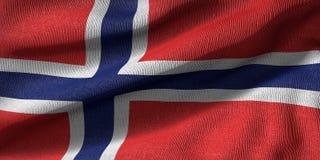 het 3d teruggeven van een vlag van Noorwegen met stoffentextuur royalty-vrije illustratie