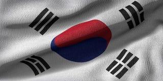 het 3d teruggeven van een vlag van Zuid-Korea met stoffentextuur vector illustratie