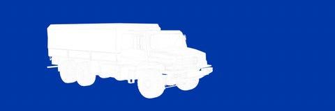 het 3d teruggeven van een vrachtwagen op een blauwe blauwdruk als achtergrond Stock Foto