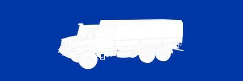 het 3d teruggeven van een vrachtwagen op een blauwe blauwdruk als achtergrond Stock Fotografie