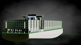 het 3d teruggeven van een weerspiegelend reusachtig vrachtschip met geschetst groen vector illustratie