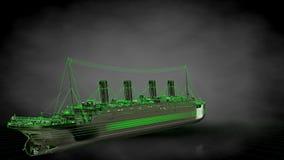 het 3d teruggeven van een weerspiegelend reusachtig vrachtschip met geschetst groen Stock Foto's