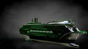het 3d teruggeven van een weerspiegelend reusachtig vrachtschip met geschetst groen Stock Afbeeldingen