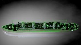 het 3d teruggeven van een weerspiegelend reusachtig vrachtschip met geschetst groen Stock Fotografie