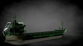 het 3d teruggeven van een weerspiegelend reusachtig vrachtschip met geschetst groen Royalty-vrije Stock Foto