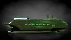 het 3d teruggeven van een weerspiegelend reusachtig vrachtschip met geschetst groen Royalty-vrije Stock Fotografie