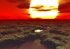 het 3D teruggeven van een zonsondergang op een vreemde planeet met pools van modder overal Stock Foto's