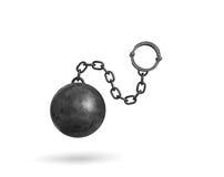 het 3d teruggeven van een zwarte ijzerbal en een ketting met een manchet die op witte achtergrond hangen royalty-vrije illustratie