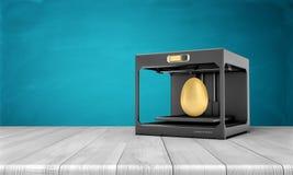 het 3d teruggeven van een zwarte 3d-printer die zich op een houten lijst bevinden Stock Foto