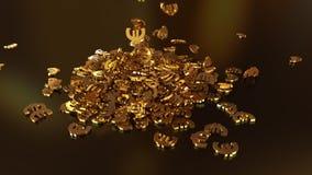 het 3d teruggeven van euro tekens die zich in een hoop verzamelen Stock Fotografie