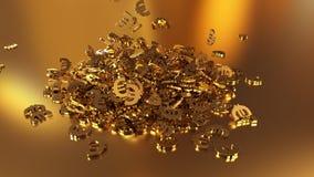 het 3d teruggeven van euro tekens die zich in een hoop verzamelen Stock Afbeeldingen