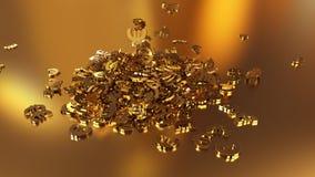 het 3d teruggeven van euro tekens die zich in een hoop verzamelen Royalty-vrije Stock Afbeeldingen