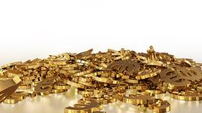 het 3d teruggeven van euro tekens die zich in een hoop verzamelen Royalty-vrije Stock Afbeelding