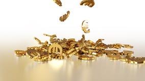 het 3d teruggeven van euro tekens die zich in een hoop verzamelen Stock Foto