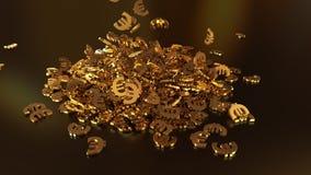het 3d teruggeven van euro tekens die zich in een hoop verzamelen Stock Afbeelding