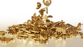 het 3d teruggeven van euro tekens die zich in een hoop verzamelen Stock Foto's