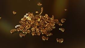 het 3d teruggeven van euro tekens die zich in een hoop verzamelen Royalty-vrije Stock Foto