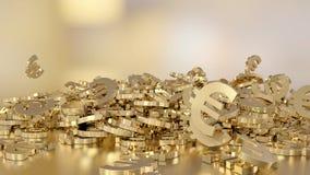 het 3d teruggeven van euro tekens die zich in een hoop verzamelen Optie in witgoudstijl Royalty-vrije Stock Afbeelding