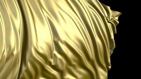 het 3D teruggeven van gouden stof De stof ontwikkelt zich regelmatig in de wind vector illustratie