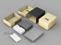 het 3d teruggeven van Gouden Zwarte doos met Etiketmodel, het concept van het Softwarepakket Royalty-vrije Stock Foto's