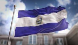 Het 3D Teruggeven van Gr Salvador Flag op Blauwe Hemel de Bouwachtergrond Stock Foto