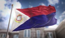 Het 3D Teruggeven van heilige Martin Flag op Blauwe Hemel de Bouwachtergrond Stock Foto