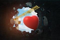 het 3d teruggeven van het hijsen van kraan die leuk rood hart dragen en zwarte muur breken die gat daarin met blauwe gezien hemel stock fotografie