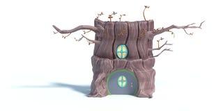 het 3d teruggeven van het huis van de beeldverhaalboom op witte achtergrond wordt geïsoleerd die royalty-vrije illustratie